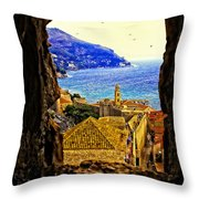 Key Hole View Of Dubrovnik 2 Throw Pillow