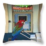 Key West - Parrot Taking A Break At Margaritaville Throw Pillow