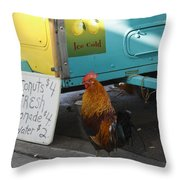 Key West - Rooster Making A Living Throw Pillow