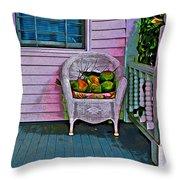 Key West Coconuts - Colorful House Porch Throw Pillow