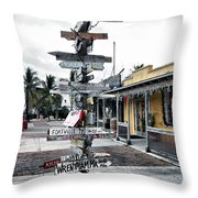 Key West Wharf Throw Pillow