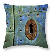 Keyhole On A Blue And Green Door Throw Pillow