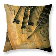 Keys And Quill On Old Papers Throw Pillow