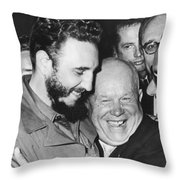 Khrushchev And Castro Throw Pillow