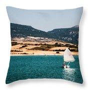 Kid Sailing On A Lake Throw Pillow