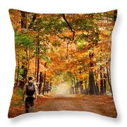 Kid With Backpack Walking In Fall Colors Throw Pillow