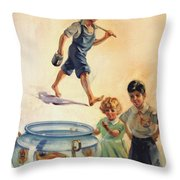 Kids And Fishing  1934 Throw Pillow