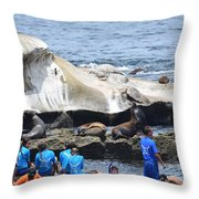 Kids And Sea Lions Throw Pillow