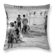 Kids At Beach Throw Pillow