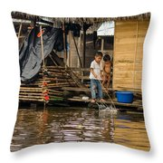 Kids At Play In Shanty Town Throw Pillow