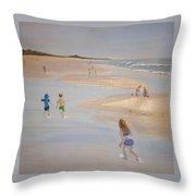 Kids On The Beach Throw Pillow