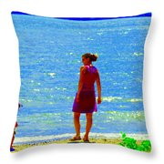 Kids Playing On The Seashore Mom And Little Boys Pointe Claire Montreal Waterscene Carole Spandau Throw Pillow