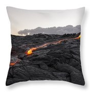 Kilauea Volcano 60 Foot Lava Flow - The Big Island Hawaii Throw Pillow