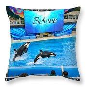 Killer Whales Perform In Shamu Stadium At Seaworld. Throw Pillow