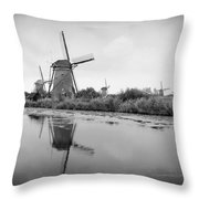 Kinderdijk In Black And White Throw Pillow