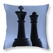 King And Queen In Cyan Throw Pillow