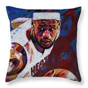 King James Throw Pillow by Maria Arango