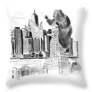 King Kong, Atop The Williamsburgh Savings Bank Throw Pillow
