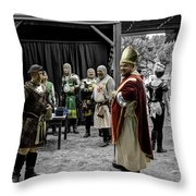 King Macbeth Of Scotland With The Bishop Throw Pillow