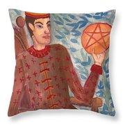 King Of Pentacles Throw Pillow