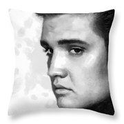 King Of Rock Elvis Presley Black And White Throw Pillow