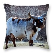 King Of The Herd Throw Pillow