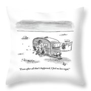 King Speaks To Woman As They Sit Outside Trailer Throw Pillow