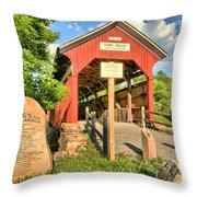 Kings Covered Bridge Throw Pillow