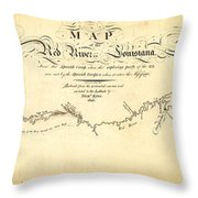 Kings Map Of The Red River In Louisiana 1806 Throw Pillow