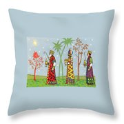 Kings With Gifts Throw Pillow