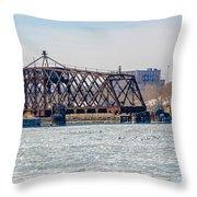 Kinnickinnic River Swing Bridge Throw Pillow