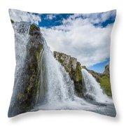 Kirkjufellsfoss Waterfalls, Church Throw Pillow