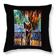 Kiss After The Rain - Palette Knife Oil Painting On Canvas By Leonid Afremov Throw Pillow