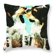 Kiss Me - Cocker Spaniel Art By Sharon Cummings Throw Pillow by Sharon Cummings