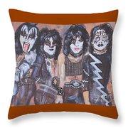 Kiss Rock Band Throw Pillow