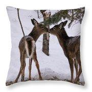 Kissing Deer Throw Pillow