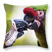 Kissing Macaws Throw Pillow