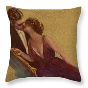 Kissing On The Chaise-longue Valentine Throw Pillow by Sarah Vernon