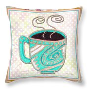 Kitchen Cuisine Hot Cuppa Aqua By Romi And Megan Throw Pillow