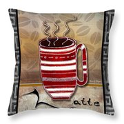 Kitchen Cuisine Hot Cuppa Coffee Cup Mug Latte Drink By Romi And Megan Throw Pillow by Megan Duncanson
