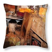 Kitchen - Food - Meat - Cheese - Eggs Throw Pillow