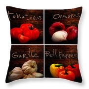 Kitchen Ingredients Collage II Throw Pillow