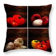 Kitchen Ingredients Collage Throw Pillow