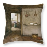Kitchen Interior, C.1899 Throw Pillow