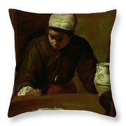 Kitchen Maid With The Supper At Emmaus, C.1618 Oil On Canvas Throw Pillow