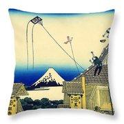 Kite Flying Over Mount Fuji Throw Pillow