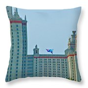 Kite Over Moscow University In Moscow-russia Throw Pillow
