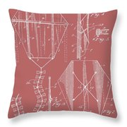 Kite Patent On Red Throw Pillow