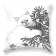 Kitten And Christmas Tree Throw Pillow