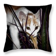 Kitten In The Plant Throw Pillow
